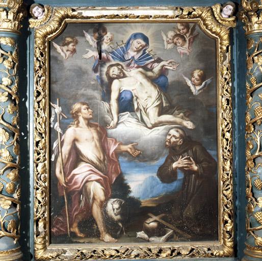 Tableau : Vierge des Sept Douleurs, saint Jean Baptiste, saint François d'Assise.