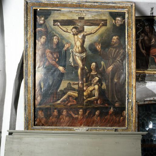 Tableau : Purgatoire, Vierge et Trinité.