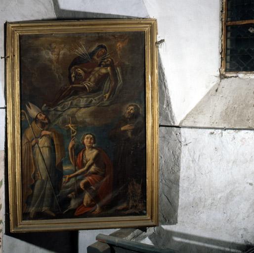 Tableau : Purgatoire, Christ en croix avec la Vierge, saint Sébastien et saint François d'Assise.