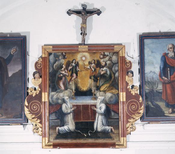 tableau : pénitents blancs adorant le Saint Sacrement, Vierge, Saint Pierre apôtre