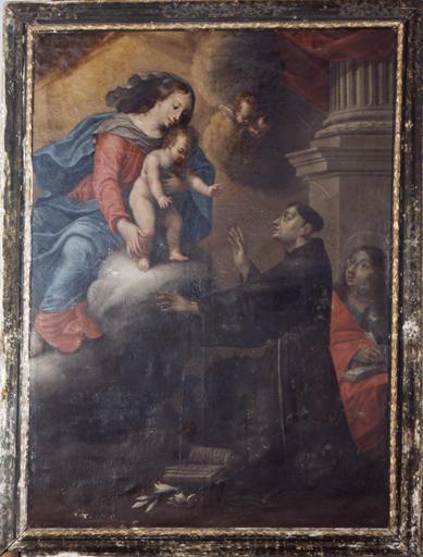 tableau : Vierge à l'Enfant apparaissant à saint Antoine de Padoue, saint Jean l'évangéliste