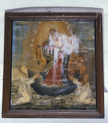 tableau : Vierge à l'Enfant remettant un chapelet à deux pénitents