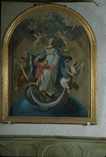 Tableau : Immaculée Conception et Enfant Jésus.