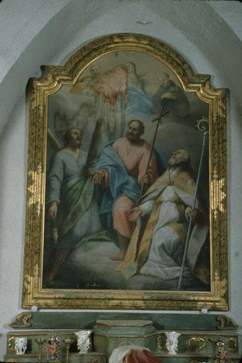 tableau de l'ensemble de deux autels latéraux (autel latéral gauche) : Vierge et saints (saint André, saint Philippe apôtre (?), saint Marcellin (?), saint Antoine de Padoue)