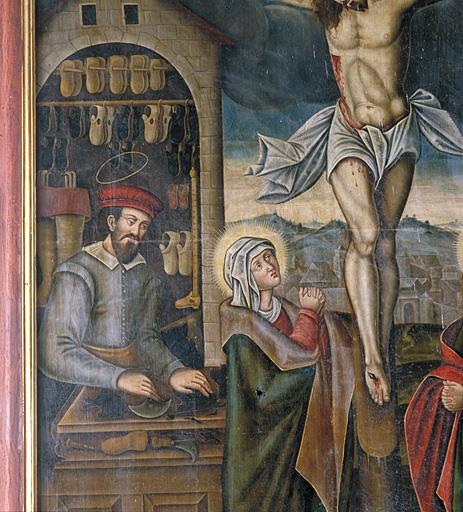 Tableau : Calvaire avec saint Crépin et saint Crépinien