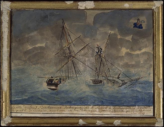 tableau, ex-voto : Bateau dans la tempête (No 1)