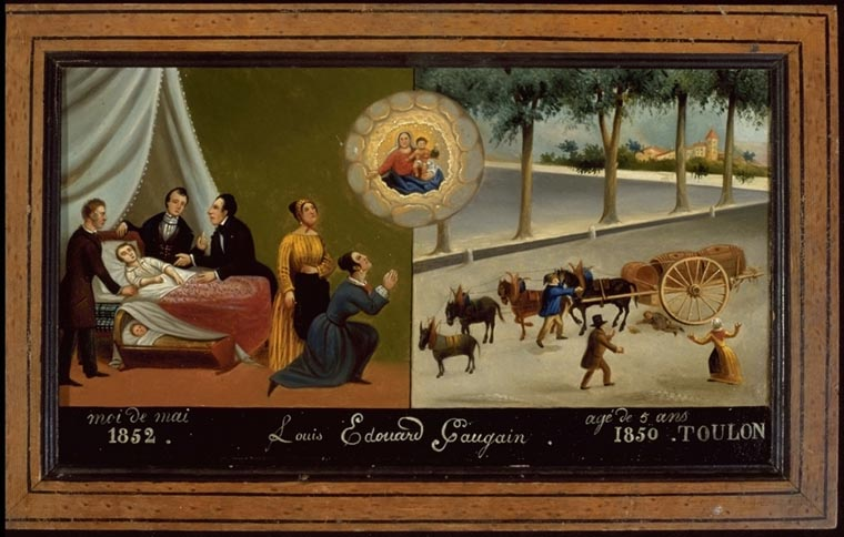 Tableau, ex-voto : Accident de charrette de Louis Edouard Gaugain