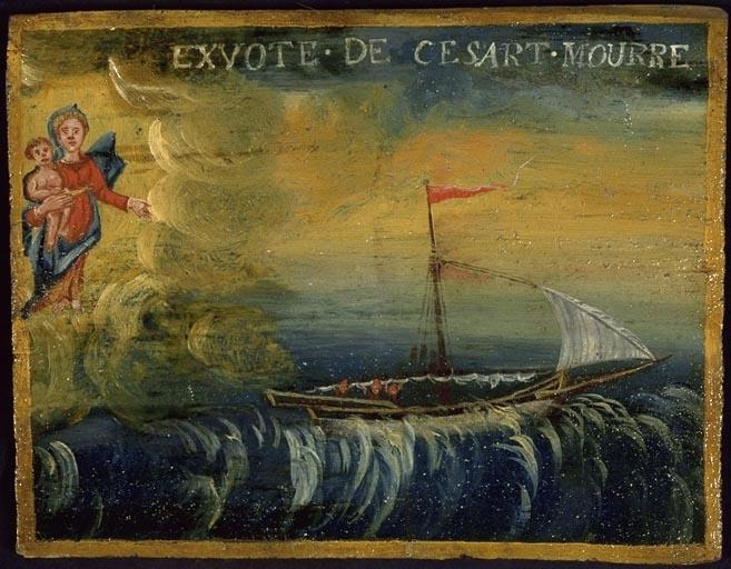tableau, ex-voto : Bateau dans la tempête (No 4)