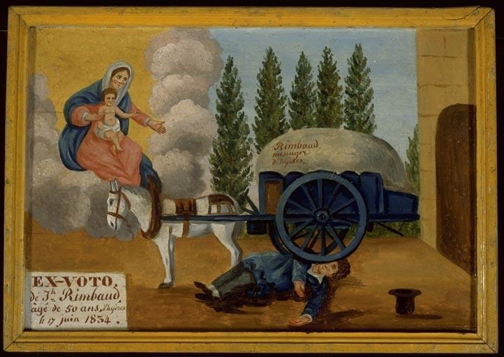 tableau, ex-voto : Accident de charrette de J.Rimbaud