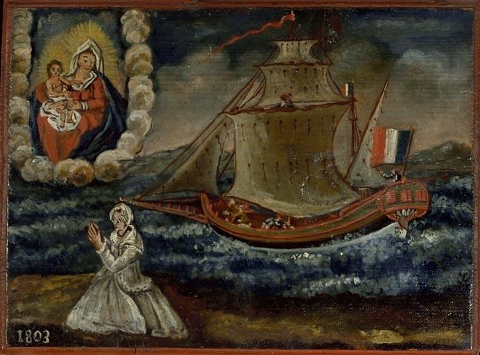tableau, ex-voto : Bateau dans la tempête (No 5)