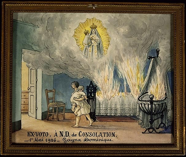 Tableau, ex-voto : Incendie dans une chambre à coucher
