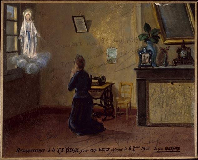 tableau, ex-voto : Prière d'Eugénie Gueirard