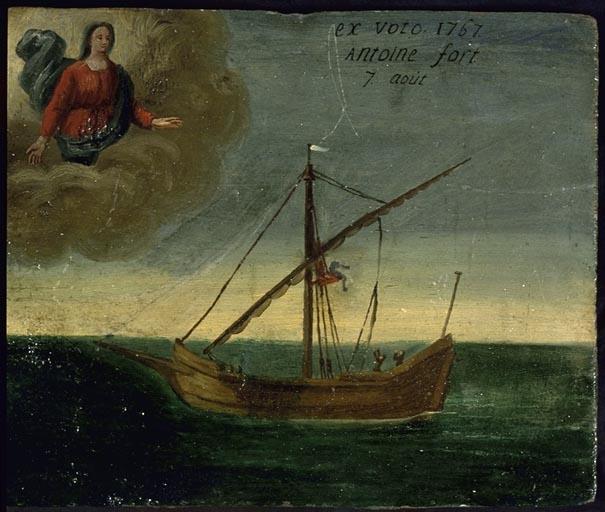 tableau, ex-voto : Chute d'Antoine Fort du mât d'un bateau