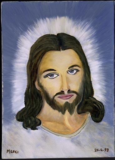 Tableau, ex-voto : Jésus en buste