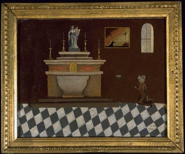 tableau, ex-voto : Femme en prière (No 2)