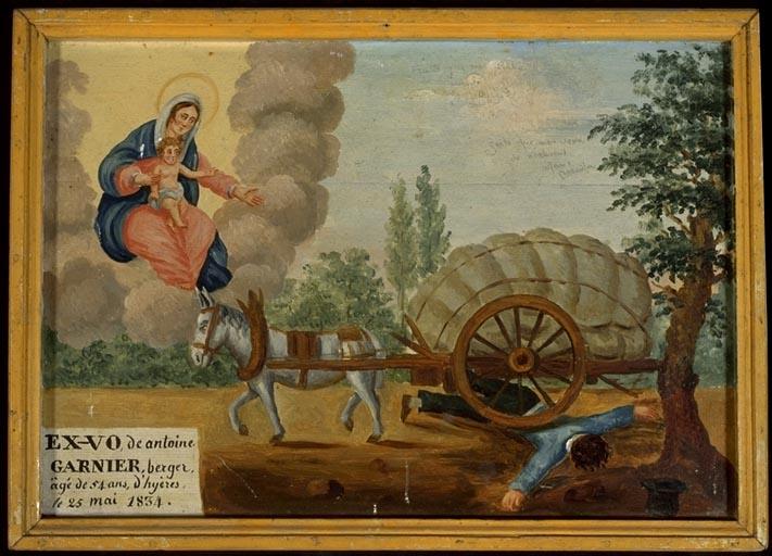 tableau, ex-voto : Accident de charrette de Antoine Garnier