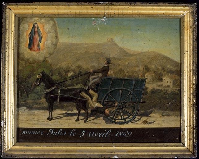 tableau, ex-voto : Accident de charrette de Jules Munier