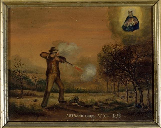 tableau, ex-voto : Accident de chasse de Louis Autrand