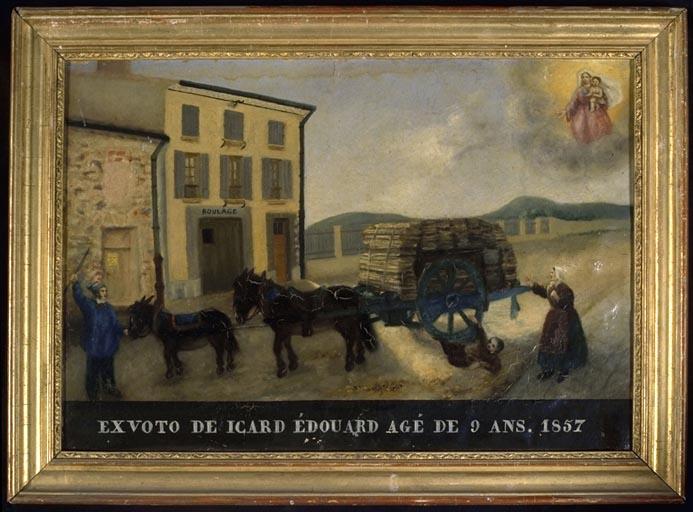 tableau, ex-voto : Accident de charrette de Edouard Icard
