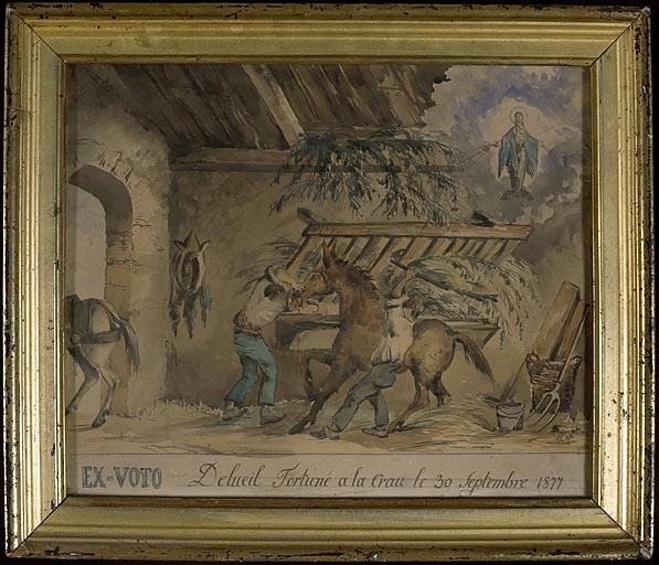 tableau, ex-voto : Ane mordant le bras de Fortuné Delueil