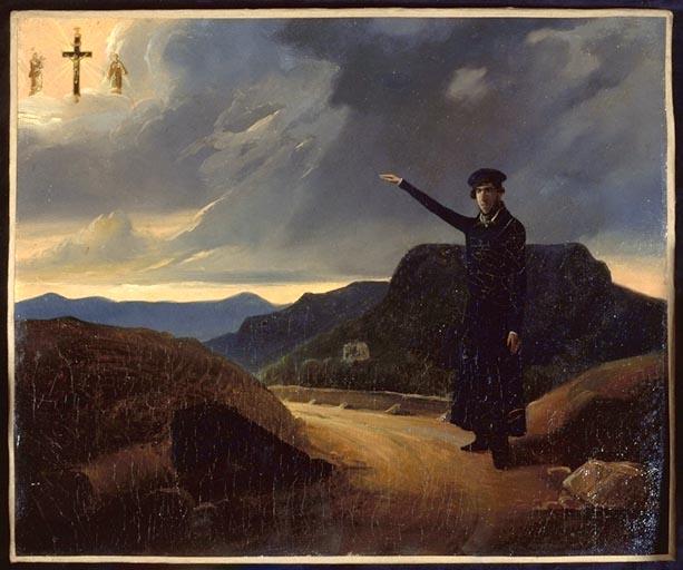 tableau, ex-voto : Homme sur une route de montagne