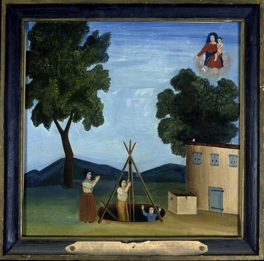 tableau, ex-voto : Chute de Nicolas Barbier et de Joachim Buscaye dans un puits