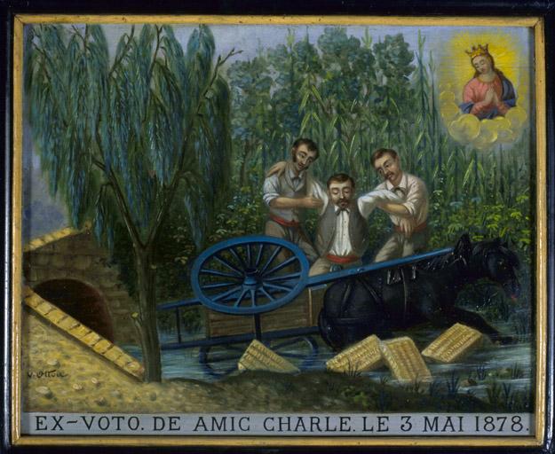 Tableau, ex-voto : Accident de charrette de Charles Amic