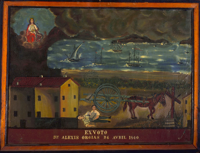 tableau, ex-voto : Accident de charrette de Alexis Orgias, Portrait d'un soldat romain