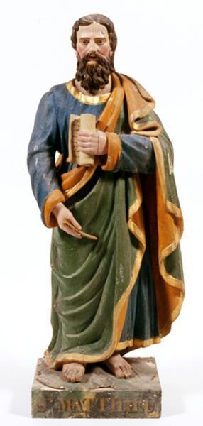 2 statues (statuette, paire, en pendant) : saint Jean l'Evangéliste, saint Matthieu
