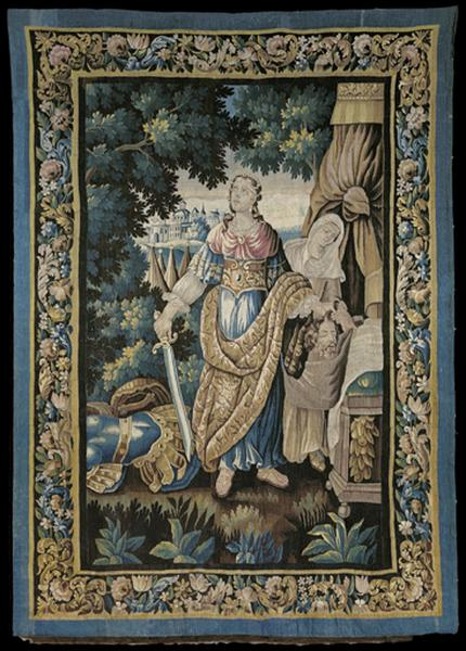 Ensemble de 7 tentures d'église (tapisseries à bordure) : Jahel un marteau à la main, Judith tenant d'une main un glaive, de l'autre la tête d'Holopherne, Esther couronnée de roses, Eliezer et Rebecca au puits, Le retour du jeune Tobie, Moïse sauvé des eaux, Verdure