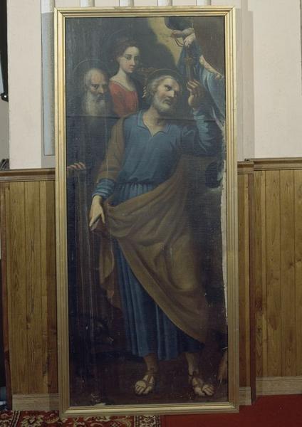 Tableau : Remise des clés à saint Pierre par la Vierge à l'Enfant, en présence de sainte Lucie et de saint Antoine abbé