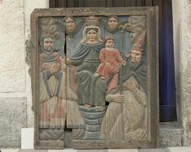 retable : Vierge à l'Enfant, saint Nicolas, saint François Xavier