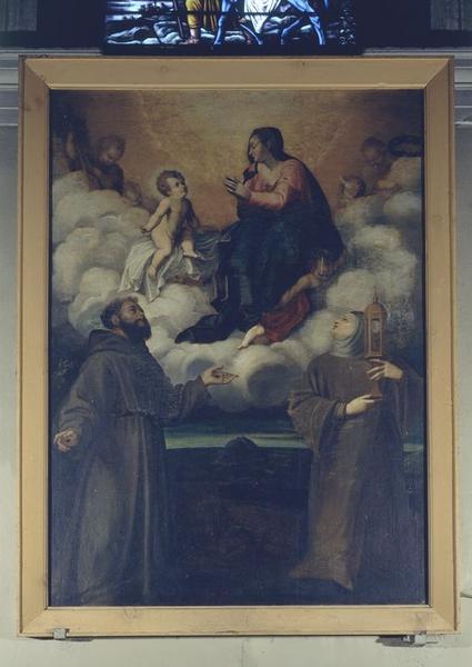 tableau : Vierge à l'Enfant, saint François, sainte Claire