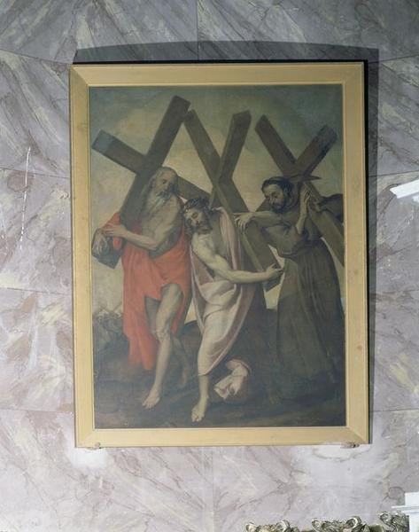 tableau : Christ entre saint François et saint Jérôme, chargés de la croix