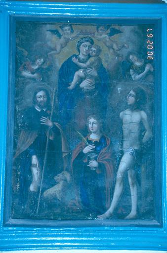 Tableau d'autel : Vierge à l'Enfant, saint Roch, sainte Lucie, saint Sébastien