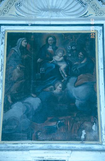 Tableau d'autel : Intercession de la Sainte Famille, de sainte Anne et de saint Joachim en faveur des âmes du Purgatoire