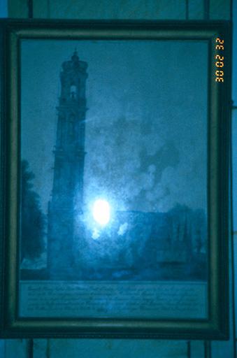 Dessin : ancien clocher de l'église paroissiale Saint-Pierre et Saint-Paul