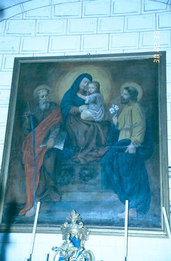 Tableau d'autel : Vierge à l'Enfant entre saint Joseph et saint Paul