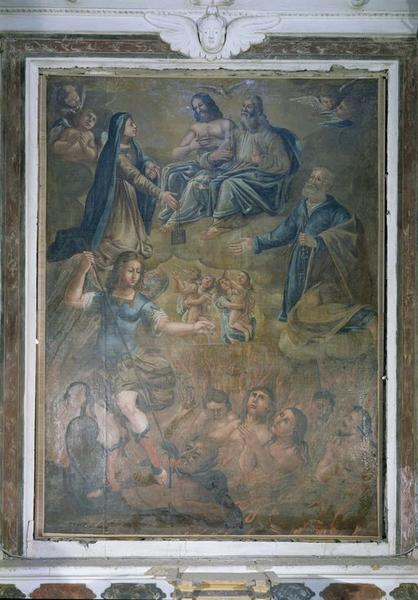 tableau d'autel : Intercession de Notre-Dame du Mont Carmel en faveur des Ames du Purgatoire en présence de saint Pierre