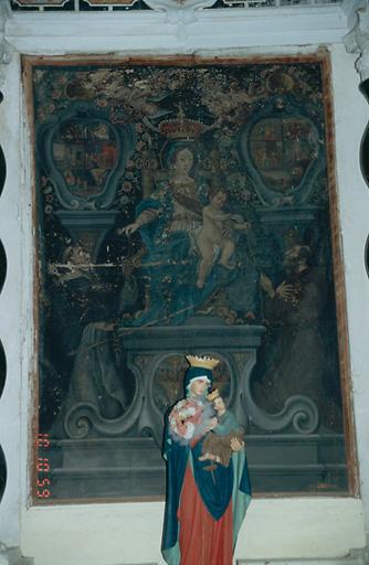 Tableau d'autel : Donation du Rosaire à saint Dominique et à saint François d'Assise