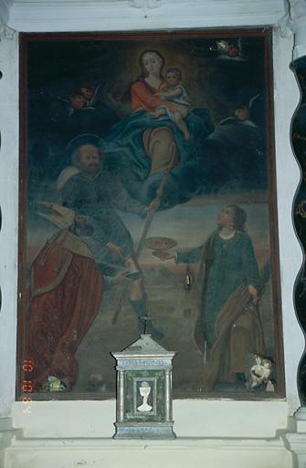 Tableau d'autel : Apparition de la Vierge à l'Enfant à saint Augustin, saint Roch et sainte Lucie