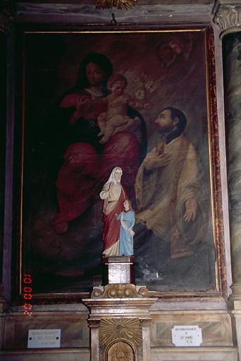 Tableau d'autel : Remise du Scapulaire à saint Ignace de Loyola par la Vierge à l'Enfant
