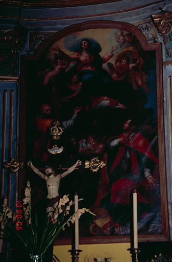 Tableau d'autel : Assomption, saint Marcel pape, saint Erasme