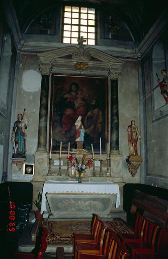 Ensemble de l'autel secondaire de la Vierge, dit de sainte Anne