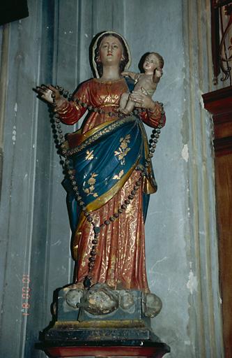 Statue (petite nature) : Vierge à l'Enfant dite Vierge du Rosaire