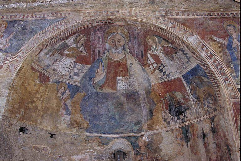 Peintures monumentales : Le Christ en Majesté entouré d'anges et du Tétramorphe, L'Annonciation et saint Michel, Scènes de la Passion, Figures de saints et le Jugement Dernier