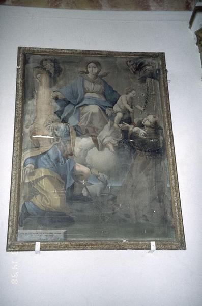 tableau, cadre : Vierge à l'Enfant avec saint Roch et saint Antoine
