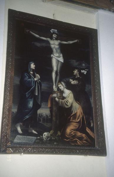 tableau : Christ en croix, sainte Marie-Madeleine, saint Antoine de Padoue