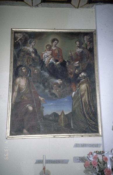 tableau, cadre : La Vierge à l'Enfant avec saint Jean-Baptiste et un saint évêque