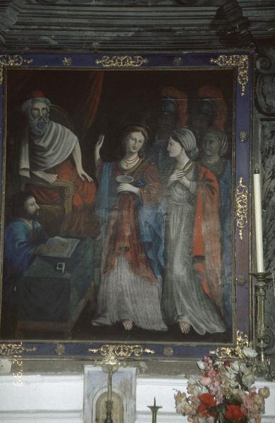 Tableau d'autel : Condamnation de sainte Lucie par le consul Paschasius